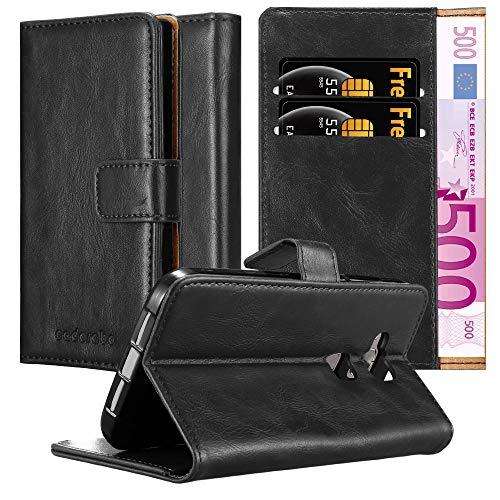 Cadorabo Hülle für Huawei G7 Plus / G8 / GX8 - Hülle in Graphit SCHWARZ – Handyhülle im Luxury Design mit Kartenfach & Standfunktion - Hülle Cover Schutzhülle Etui Tasche Book