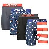 AEROPOSTALE Mens Boxer Briefs 4 Pack Poly Spandex Performance Boxer Briefs Underwear (American Flag, Medium)