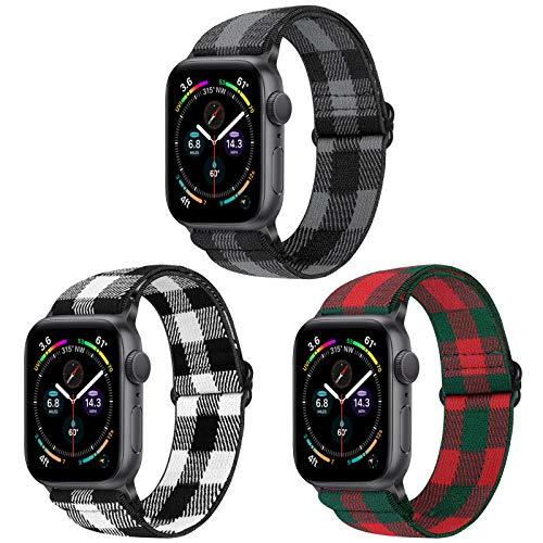 Vodtian, cinturino elastico regolabile per Apple Watch 42 mm 44 mm, in nylon Loop Sport di ricambio per iWatch serie 6/5/4/3/2/1, SE (42 mm/44 mm, Black White+Red Green+Black Grey)
