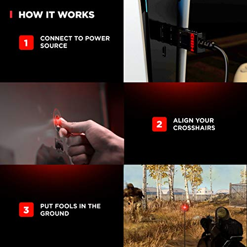 HipShotDot Red Dot LED Aim Assist Mod for Television - Gaming TV Accessory Compatible with Xbox, Playstation and Nintendo - Works with All Shooter Video Games and FPS or TPS - Quick Or No Scope