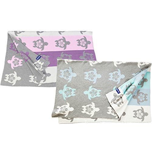 Babydecke/Kuscheldecke blau/grün aus 100% Bio-Baumwolle. Atmungsaktiv, pflegeleicht, kuschelig weich. Größe 80x100 cm, GOTS zertifiziert.