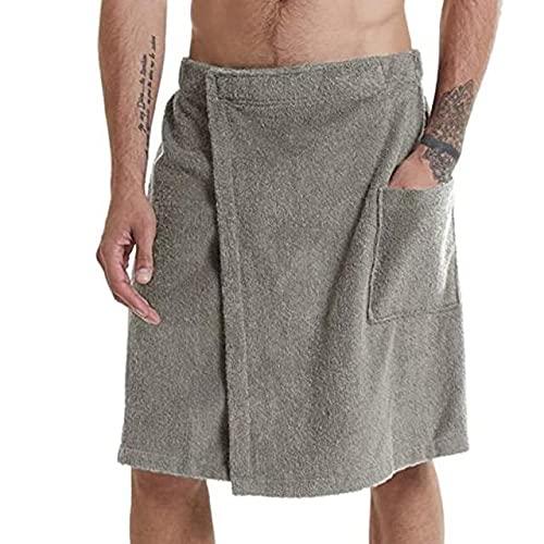 KASLXA Albornoces Suaves para Hombres, Ropa cómoda para el hogar, camisón y Vestido de baño de Color sólido para Hombres, Toallas y Bolsillo para Albornoces.-Light grey-1-XL