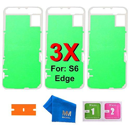 MMOBIEL 3 x Adhesivos Precortados Compatible con Samsung Galaxy S6 Edge G925 para Parte Delantera y Carcasa LCD Frontal