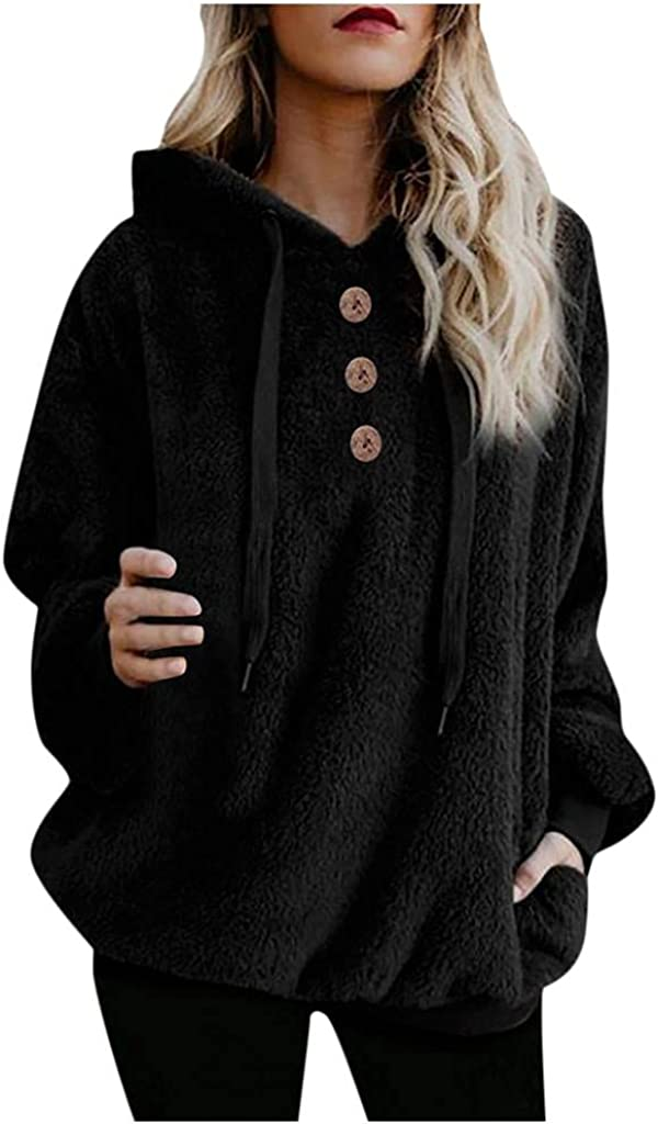Gibobby Hoodies for Women Oversize Fur Fuzzy Hooded Zipper Sweatshirt Pullover Sherpa Sweaters Outwear Coat with Pocket