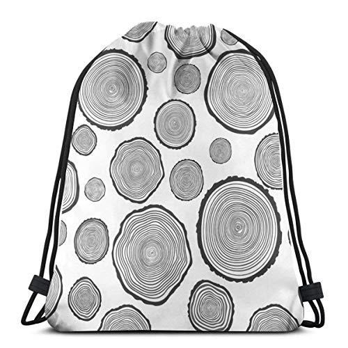 Lmtt Bolsas con cordón Mochila de anillo anual de árbol Bolsas de cuerda de tirón Bolsas de almacenamiento deportivo a granel Gimnasio para adultos Mochila de viaje de hombro como imagen