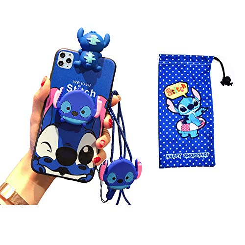 VANVENE Cute 3D Stitch Cartoon Funny Animal Character Case Cover Compatible with iPhone 11 Pro Max Case 6.5' for Kids Girls Fits Apple iPhone 11 Pro Max Case with Holder Lanyard Doll