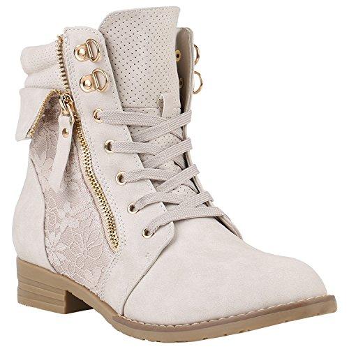 stiefelparadies Damen Stiefeletten Schnürstiefeletten Worker Boots Zipper Schuhe 142055 Creme Autol 42 Flandell