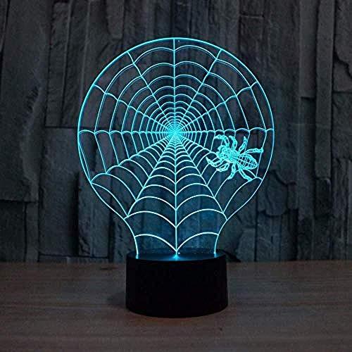 Luz Nocturna 3D Telaraña Lámpara De Óptico Ilus