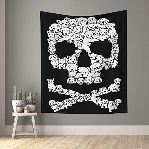Tapiz lindo cachorro perro cráneo blanco y negro Tapices pequeños de pared para dormitorio, sala de estar, ventana de estar, decoración estética separador de habitación 60 x 51 pulgadas