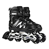 Adjustable Inline Skates for Kids and Adults Roller Skates with Featuring All Illuminating Wheels for Girls and Boys Men and Ladies black_L-Youth&Adult(EU:_37-41;_UK:_5-8)