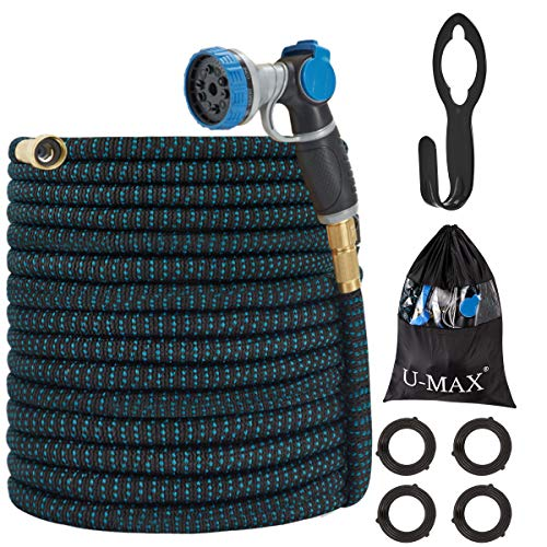 U-MAX Expandable Garden Hose 100FT, Ultra Strength 3750D, Flexible and Durable 4-Layers Latex Superior Strong Brass Connectors, 10-Way Heavy Duty Zinc Water Spray Nozzle
