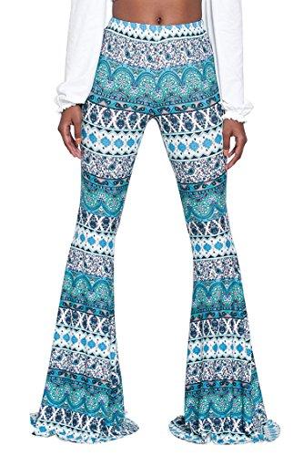 Womens Elegant Print Marvelous Dress Up Slimming Super Long Bells Pants S Turquoise