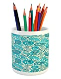 Ambesonne Turquoise Pencil Pen Holder, Paisley Pattern Antique Floral Pattern Ornaments Classical Middle...
