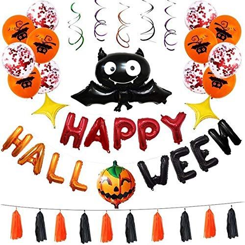 Set di Palloncini di Halloween Articoli per Feste per Feste Decorazione Palloncino di Pipistrello Pendente a Spirale Palloncino di Halloween Giocattolo per Bambini Palloni da stregone, Vedi Tabella