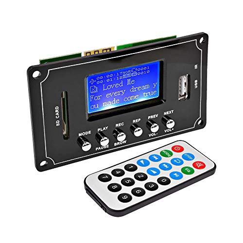 MP3 Decoder Wireless Bluetooth Audio Decoder Board 12V WAV WMA FLAC Decoding Module USB FM with Lyrics Display Recording