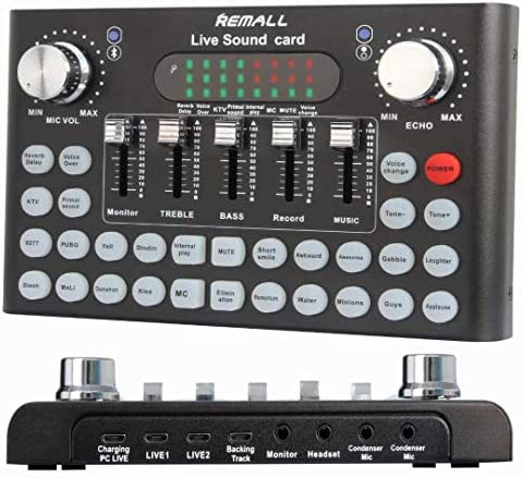 REMALL Bluetooth Voice Changer Sound Card with Multiple Sound Effects Audio Mixer for Live Streaming product image