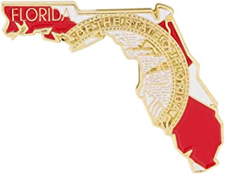 State Shape of Florida with Florida Flag Lapel Pin (100 Pins)