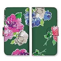 Apple iPhone12 mini 手帳型 スマホ ケース カバー 花 イラスト 深緑 スマホケース スマホカバー アイフォン12ミニ アイホン12ミニ 17477