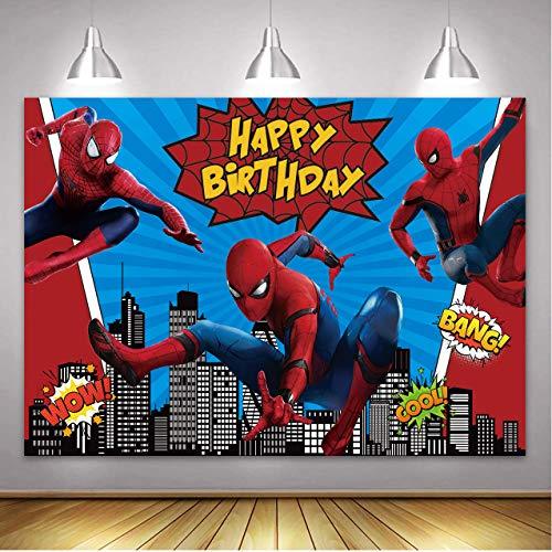 Betta Spiderman telón de fondo de cielo nocturno superhéroe paisaje urbano para niños, fiesta de cumpleaños, superhéroe, fiestas temáticas de Spiderman, fondo de mesa de 2,1 x 1,5 m