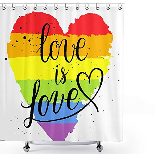 Pride Shower Curtain LGBT Gay Lesbian Parade Love is Love Hand Writing Paint Strokes Shower Curtain 36x72 Fabric