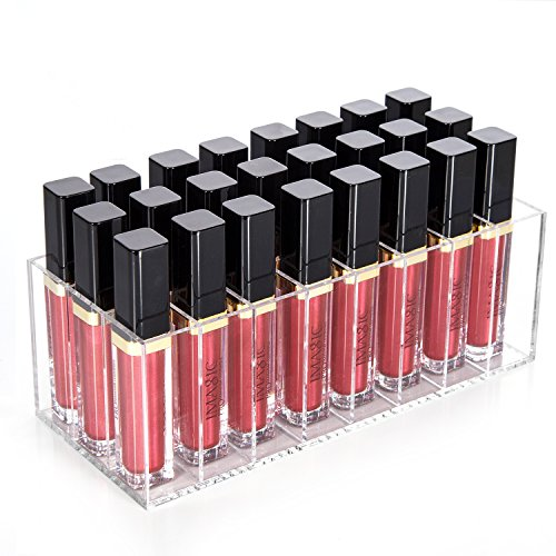 HBlife Lip Gloss Holder Organizer, 24 Spaces Clear Acrylic Makeup Lipgloss Display Case