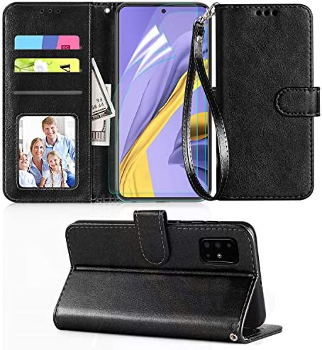 Axiay Samsung Galaxy A51 Case,Samsung Galaxy A51 Phone Case w 2 Pack HD Screen Protector,Kickstand Card Slots Wrist Strap Magnetic Flip PU Leather Protective Wallet Case,Black