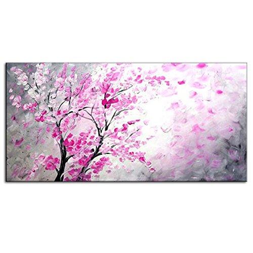 IPLST@ Pittura Decorazione Domestica Moderna Paesaggio Rosa Peach Blossom Olio su Tela, Dipinta a Mano Grande Art Decals -20x40inch (Nessuna Cornice, Senza barella)