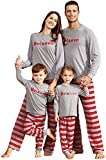 IFFEI Dad Mom Baby Kids Family Matching Pajamas Set Striped Holiday Stay at Home Sleepwear PJ's 3-4Y