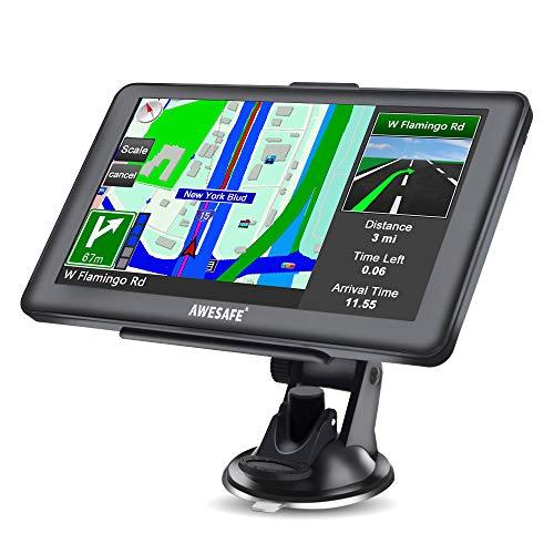 """AWESAFE GPS Voiture 7""""Écran Tactile avec Fonction Bluetooth, pré-installé avec Les Cartes de 52 Pays européens"""