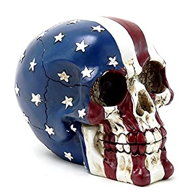 American Flag Skull USA Tattoo Figurine Statue Stars and Stripes