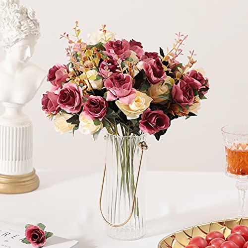 Künstliche Blumen, kunstblumen wie echt seidenblumen Deko Unechte Blumen Dekoration blumenstrauß künstlich Blumenarrangements (Rose Rot)