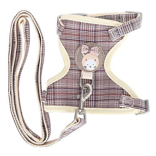 Peitoral para gatos com coleira, jaqueta respirável de fácil controle de algodão ajustável com bordas macias Esponjas para caminhar (xadrez marrom, 1,0 cm (adequado para 3-7 kg))