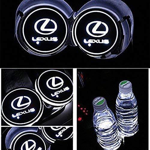 PRXD 2pcs LED Auto Cup Halter Matte Pad Wasserdicht Flasche Getränke Untersetzer für Universal Auto zur Autodekoration Stimmungslicht Innenraumbeleuchtung wasserdicht (Lexus)