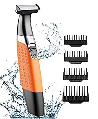 Babacom Beard Trimmer, Wet and Dry Men's Electric Razor, USB Rechargeable Body Hair Remover for Women, Hybrid Precision Trimmer and Edger with 4 Guide Combs and Cleansing Brush by Babacom