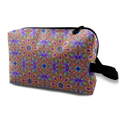 Amber Mandala_1849 Travel Cosmetic Bag Cosmetics Make Up Tools Travel Set Women and Girls Blue Flowers