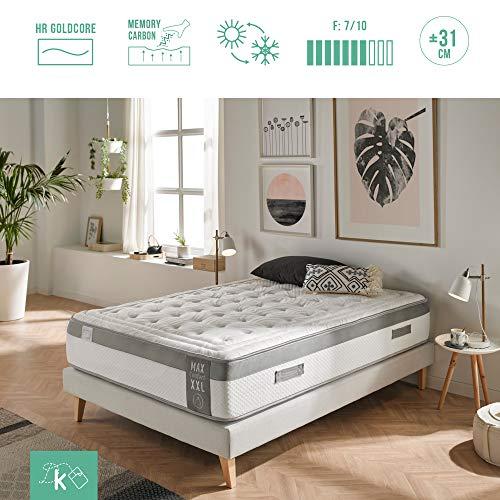 Dreaming Kamahaus Colchón MAX Comfort XXL con ViscoGel-Grafeno 150x190 cm. | Gama Alta | Sistema Comfort Plus 8cm | Alta adaptabilidad y Confort | Antiestrés | Altura 31cm |