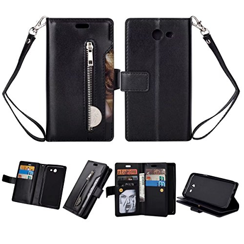 Galaxy J3 2017 Case, Folice Zipper Wallet Case [Magnetic Closure]& 9 Card Slots, PU Leather Kickstand Wallet Cover Durable Flip Case for Samsung Galaxy J3 2017 (Black)