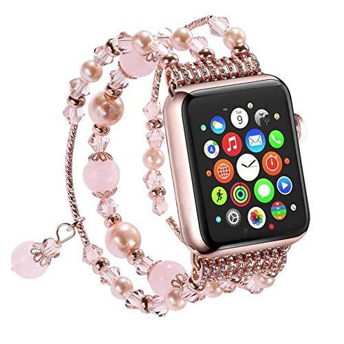 LANilianhuqa Banda compatible con Apple Watch 38-40 mm/42-44 mm, pulsera de ágata elástica hecha a mano para Apple Watch Series /4/3/2/1 38-40 mm, cristal rosa