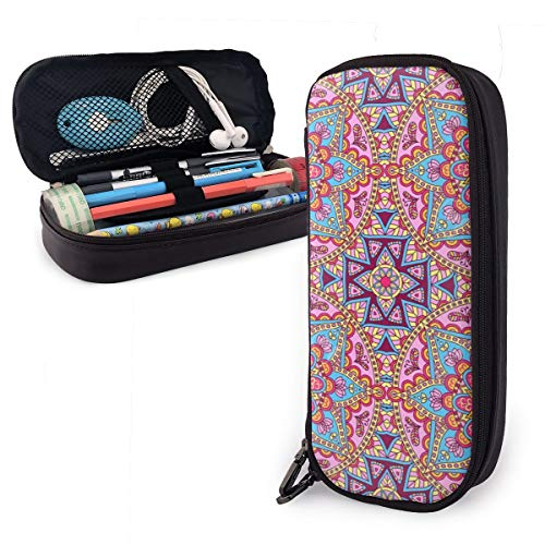 Arabesque Hippie Style Authentic Portable Pencil Case Cute Leather Pen Bag Desk Stationery Organizer with Zipper Large Capacity Pen Holder for School Boys Girls Office