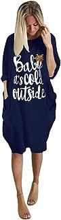 Plus Size Christmas Dress,Jushye Women Letter Print Large Size Shirt Dress O Neck Long Sleeve Pocket Dress Xmas Gift