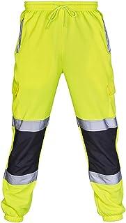suanret Hi Viz Pants Visibility Work Wear Safety Cargo Railway Highway Trousers 2 Reflective Tape Stripe Band Two Tone Jog...