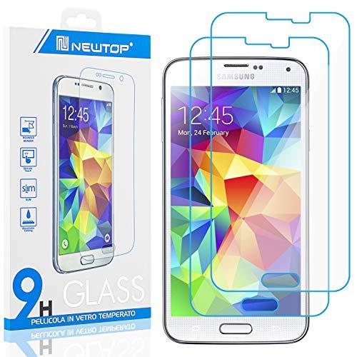 N NEWTOP [2 Pezzi] Pellicola Compatibile con Samsung Galaxy S5 (i9600), GLASS FILM 0.3mm 9H Vetro Temperato Proteggi Schermo Display Anti Urto Graffio Protettiva