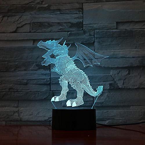 3D-nachtlampje Quitola draak, driekoppig, western draak nachtlampje 3D illusie / bedlampje voor kinderen / binnenverlichting / tafellamp en bedlampje Afstandsbediening