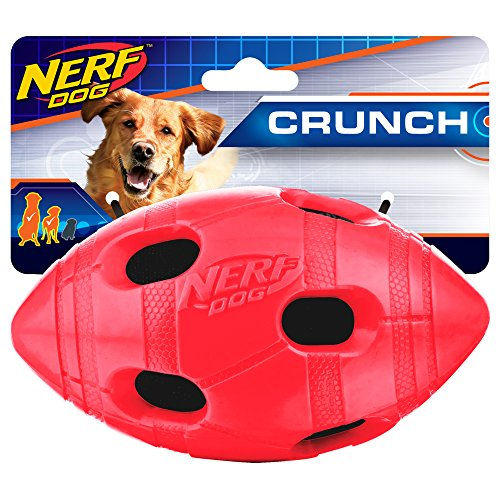 Nerf Dog Rubber Football Dog Toy with Interactive Squeaker and Crunch, Lightweight, Durable and Water Resistant, 6 Inch Diameter for Medium/Large Breeds, Single Unit, Red