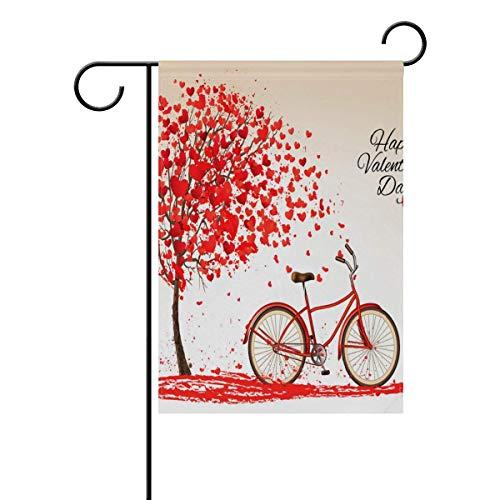 Trista Bauer Fahrrad und Baum aus Herz Garten Flagge Haus Banner Lange Polyester 12 x 18 Zoll