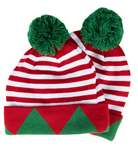 Juvale Elf Christmas Beanie, Holiday Hat with Pom Pom (2 Pack)