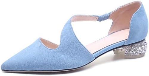 Sandales en Daim à la Mode pour Femmes Douces minimalisme minimalisme Talon épais et Bout Pointu Strass Sequins Noir Bleu  économiser jusqu'à 70%