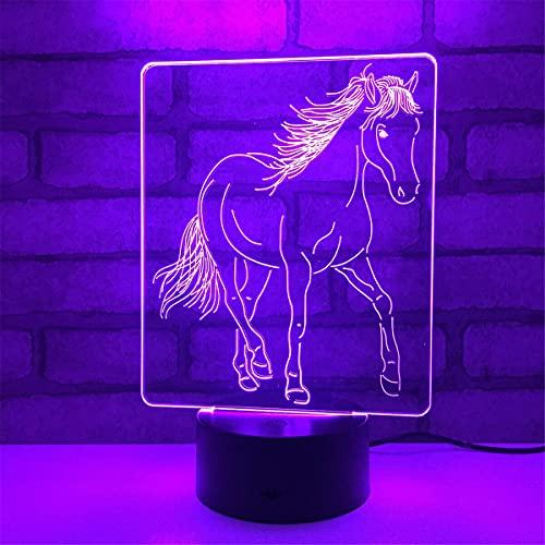 3D Ilusión óptica Lámpara LED Caballo Luz de noche Deco 7 colores usb Decoracion Dormitorio escritorio mesa para niños adultos del partido cumpleaños Luces nocturnas de mesa