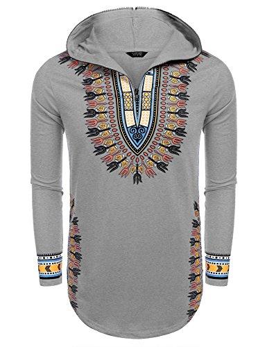 COOFANDY Men's Hippie Tribal Style African Dashiki Hoodie Sweatshirts Grey