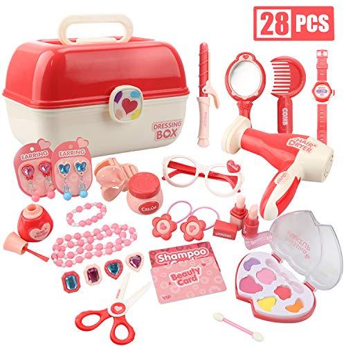 Vanplay Meisjes Rollenspel Make Up Set Princess Speelgoeddoos, Cosmetica en Sieradenset met Accessoires voor Kinderen, set van 28 Stuks
